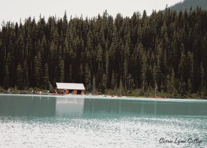 cabin on lake louise - poster art w sign