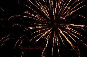 Golden red fireworks - w sign